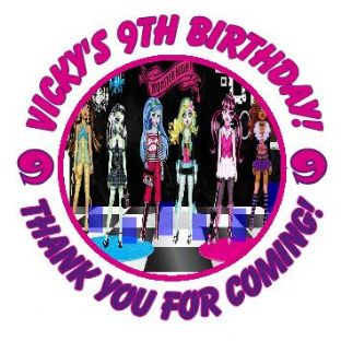 Personalised Monster High Party Stickers